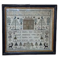 George IV Silkwork Sampler with House and Deer, Dated 1824