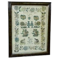 Early Victorian Silkwork Sampler with Cats, Peacocks and Fruit Baskets