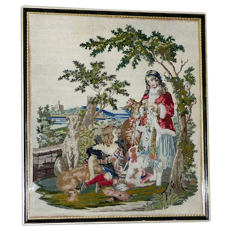 19th Century Victorian Woolwork Picture of Royal Children with Their Pets