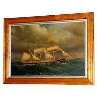 "Antique Large 19th Century Portrait of the Barque, ""Alliance"""