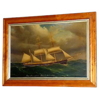 "Antique Large 19th Century Portrait of the Barque, ""Alliance"""