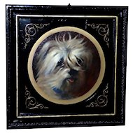 Antique 19th Century Victorian English School Portrait of a Terrier