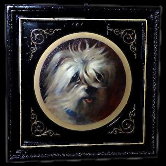 Antique 19th Century Victorian English School Portrait of a Terrier