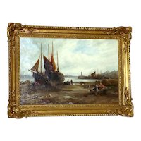 Antique 19th Century Shore Scene with Beached Fishing Boats, by William Edward Webb