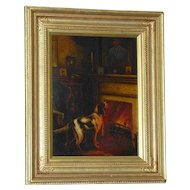 Antique Victorian Oil Painting of a Dog beside a Fireplace, by Philip Eustace Stretton