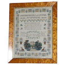 Early Victorian Traditional Finely Stitched Sampler, Dated 1854