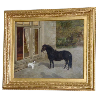 Pony and Terrier in a Courtyard, by Charles E. Baldock