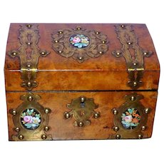 Victorian Burr Walnut Tea Caddy with Studded Brass Strapwork and Floral Porcelain Plaques