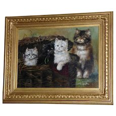 Mother Cat Showing Off Her Kittens in a Basket, by Adrienne Lester