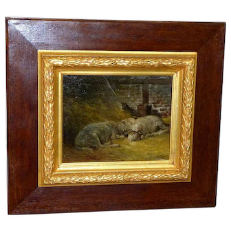 Sheep in a Shed, in Original Frame, by G. Robert