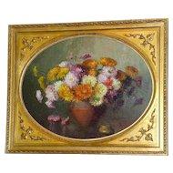Still Life of a Vase of Exuberant Chrysanthemums, by Elly Arnheim