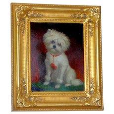 19th Century Portrait of an Adorable Dog on a Cushion