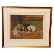 """19th Watercolor of """"The Cavalier's Pets,"""" after Landseer"""