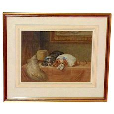 "19th Watercolor of ""The Cavalier's Pets,"" after Landseer"