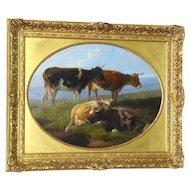 Victorian 19th Century Portrait of Cows in a Landscape