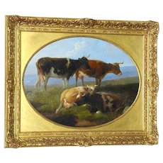 Victorian 19th Century Portrait of Cows in a Landscape