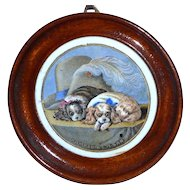 Rare Victorian Pot Lid Featuring the Dogs Pompey and Caesar
