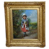 Young Child Gathering Wildflowers, by James Rolfe, in Original Ornate Frame