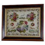 19th Century Victorian Woolwork Pictorial Sampler, Dated 1868