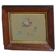 17th Century Silk Stumpwork Spot Motifs of a Butterfly, Caterpillar and Flying Bug