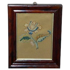 17th Century Silk Stumpwork Spot Motif of an Open Flower in a Rosewood Frame