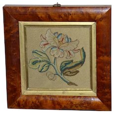 17th Century Silk Stumpwork Spot Motif of an Open Flower in Bird's Eye Maple Frame