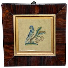 17th Century Silk Stumpwork Spot Motif of a Parrot