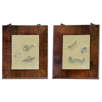 Pair of 17th Century Silk Stumpwork Panels of Snails and Bugs