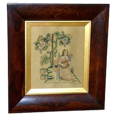17th Century Silk Stumpwork Spot Motif of a Seated Musician