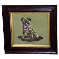 19th Century Victorian Beadwork Portrait of a Pug Dog with a Pink Bow
