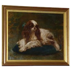 Endearing Portrait of a King Charles Spaniel on a Cushion, Circa 1900