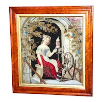 Victorian 19 th Woolwork of a Lady Spinning dated 1839