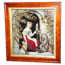 Early Victorian Woolwork Picture of a Woman Spinning Yarn, Dated 1839