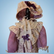 """Lovely Lavender and cream doll dress & matching bonnet! For a 24"""" tall doll! Expertly made! Antique laces and netting trims!"""