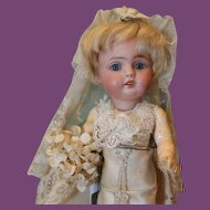 """Beautiful 7"""" tall, Kestner 143 Antique bisque head, German composition body, Bride doll, in silk and lace costume!"""