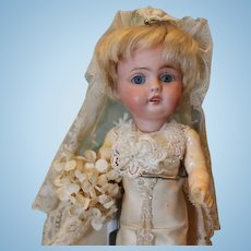"Beautiful 7"" tall, Kestner 143 Antique bisque head, German composition body, Bride doll, in silk and lace costume!"