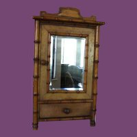 """French Antique Bamboo Armoire, doll armoire, doll furniture, 15"""" Tall X 9"""" wide and 4 1/8"""" deep in size. Pink paper lined inside! Great for dolls!"""