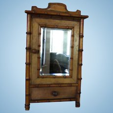 "French Antique Bamboo Armoire, doll armoire, doll furniture, 15"" Tall X 9"" wide and 4 1/8"" deep in size. Pink paper lined inside! Great for dolls!"