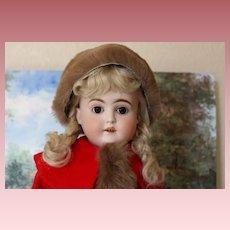 "22"" tall German Antique Kestner Shoulderhead doll on original kid leather body, bisque hands. Hairline on back of shoulderhead. Pretty face! Mohair wig!"
