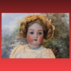 """Kammer Reinhardt, #403 German Antique doll head with hairline on Rare French Walking body!  18"""" tall! Great wig! Lace dress, antique leather shoes!"""