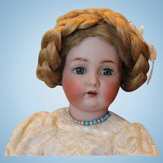 "Kammer Reinhardt, #403 German Antique doll head with hairline on Rare French Walking body!  18"" tall! Great wig! Lace dress, antique leather shoes!"