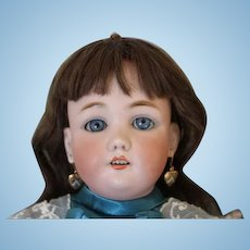 """Beautiful German antique #1349 Jutta doll! no hairlines, human hair wig, great satin dress, replaced hands, composition body, pierced ears, earrings! 18 1/2"""" tall."""