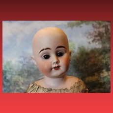 """19 1/2"""" tall unmarked German antique shoulderhead, no hairlines. unknown maker, no hairlines. damage on on finger tip, pierced ears. as found. Kid Leather body."""