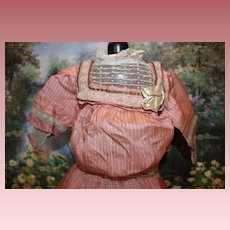 """Beautiful Antique Pink silk Doll Dress for a 23-24"""" tall doll, Metallic lace trim, antique lace trim, lace slip included lined in bodice and sleeves."""