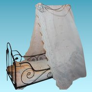 "French Antique Metal Canopy Doll Bed, with lace trims. Measures 20"" X 22""X 9 1/2"" in size. Lace trims, great for your dolls!"