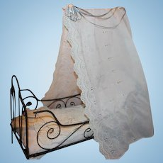"""French Antique Metal Canopy Doll Bed, with lace trims. Measures 20"""" X 22""""X 9 1/2"""" in size. Lace trims, great for your dolls!"""