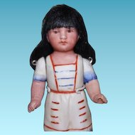 "4 1/2"" tall German Antique Bisque Indian girl doll. Unmarked, all original with bisque arms."
