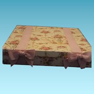 "1980's Trousseau cardboard floral display box with floral pattern and pink  ribbon bows!  Approximately 14"" X 14"" X 3"" in size."