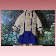 """Nice 2 piece doll skirt and jacket  for your antique doll! Estimate it would fit a 16-17"""" tall doll."""