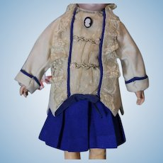 "Nice 2 piece doll skirt and jacket  for your antique doll! Estimate it would fit a 16-17"" tall doll."
